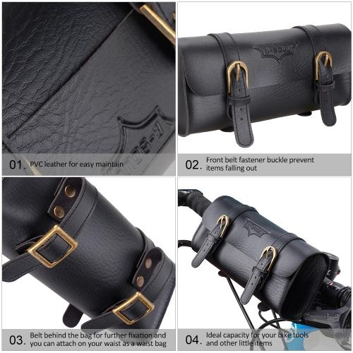 New YA237 Retro Leather 1.2L Bike Front Handlebar Bag Image