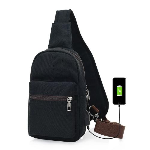 Canvas Sling Rucksack mit USB Ladeanschluss und Kopfhörer Löcher Casual Brust Reisetasche Schulter Pack