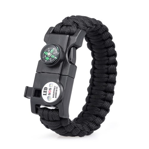 Survival Bracelet Essential Survival Gear Kit con SOS Led Light Compass Fire Starter Whistle per escursione in campeggio Survival Trips