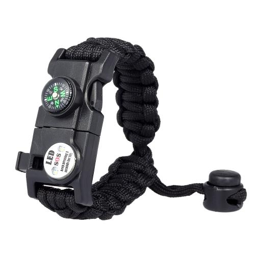 Survival Bracelet Essential Survival Gear Kit con SOS Led Light Compass Fire Starter Whistle per escursione in campeggio Survival Trips