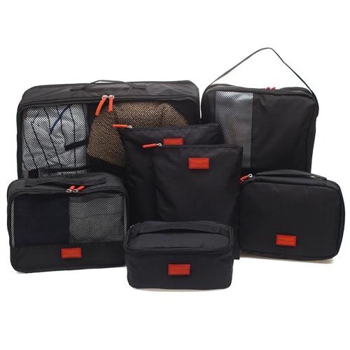 7 Unids / set Multi-fonction Bolsa de Almacenamiento de Viaje Ropa Impermeable Clasificador Bolsas de Equipaje Portátil Organizadores de Partición Bolsa de Malla Artículo Digital Cubos de Embalaje del dispositivo (negro)