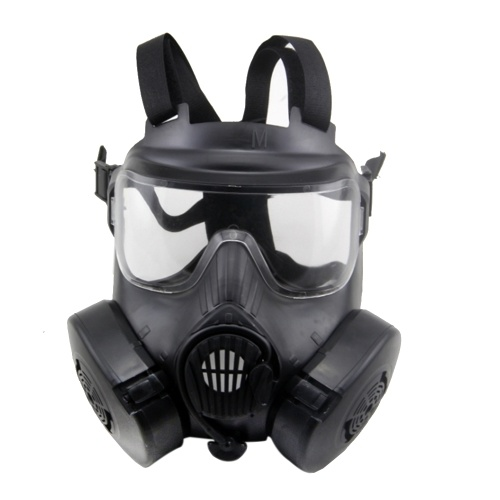 Cosplay CS Wargame Airsoft Double Filter Fan Safety Gas Mask Tactical Perspiration Dust Full Face Prop