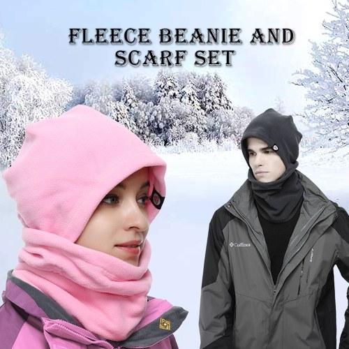Winter Warm Hat Neck Warmer Set Anti-static Fleece Neck Gaiter Hat Kit Sports Headgear Mask Hat фото