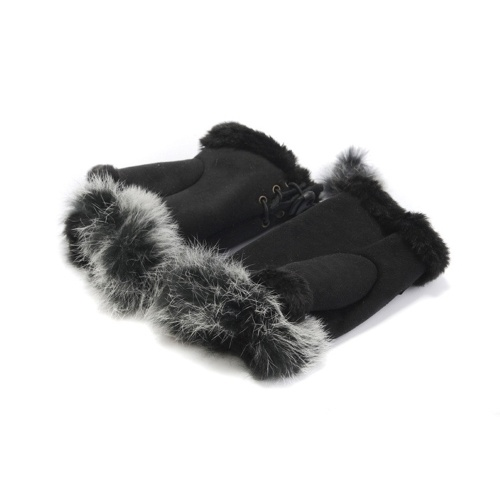 1 Pair Unique Faux Rabbit Fur Warm Half Finger Gloves
