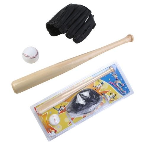 Baseball Balls Set Baseball Bat+Baseball+Baseball Gloves 24in Wood Baseball Bat 10.5in PVC Baseball Glove Baseball Kit for Youth Kids