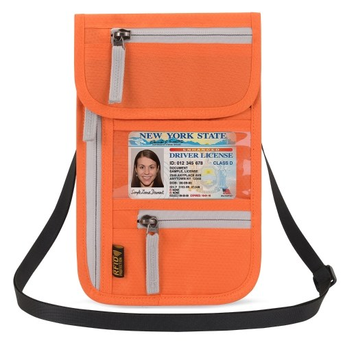 Airport Travel Neck Pouch Neck Wallet Stash Passport Holder Document Organizer