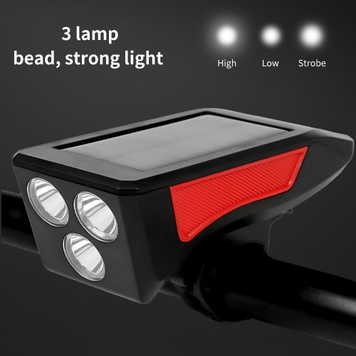 Bike Light Solar Powered USB Rechargeable LED Cycling Headlight with Horn 3 Lighting Modes 120dB 5 Sounds Waterproof Bicycle Front Headlights for Cycl