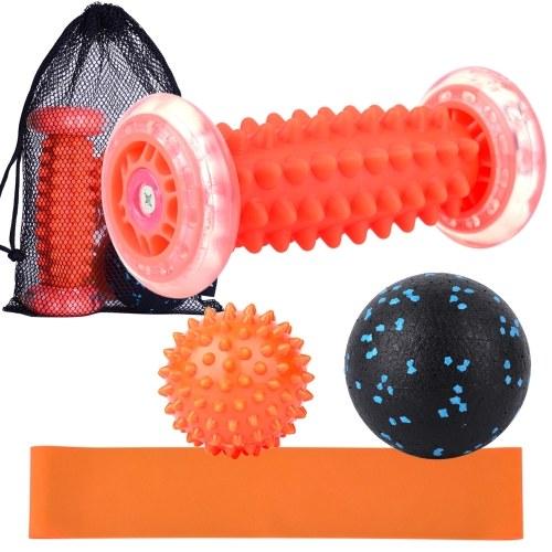 Lixada Fußmassage Roller Spiky Ball Faszienball Resistance Band Aufbewahrungsbeutel Set zur Schmerzlinderung Stressabbau Entspannung