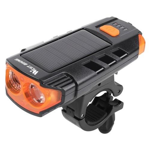 WEST BIKING Luz de bicicleta de energía solar USB recargable LED Faro de ciclismo Lámpara de advertencia de bocina de bicicleta impermeable