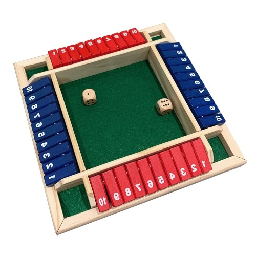 Wood Four Sided 10 Numbers Board Game Set Dice Table Entertainment Board Game Toy for Family Adults Party
