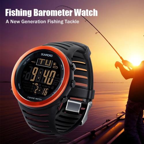 サンロードデジタル釣りウォッチバロメーター高度計温度計天気予報多機能ウォッチ