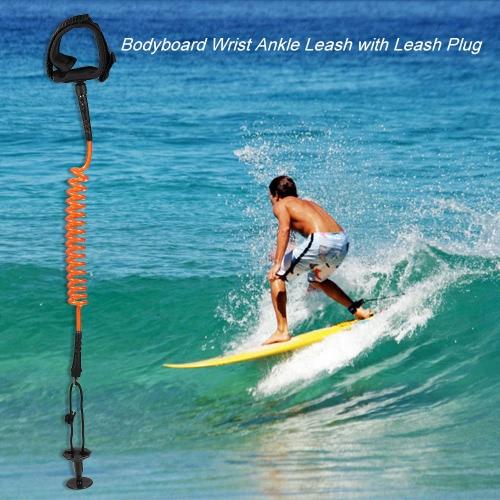 Surfen Spiralkabel Bodyboard Bodyboarden Handgelenk Knöchel Leine mit Leine Stecker