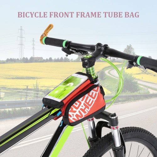 Multifuncitonal Cyling Bike Front Frame Bag Tube Pannier Bicycle Pack Pannier with Double Pouch
