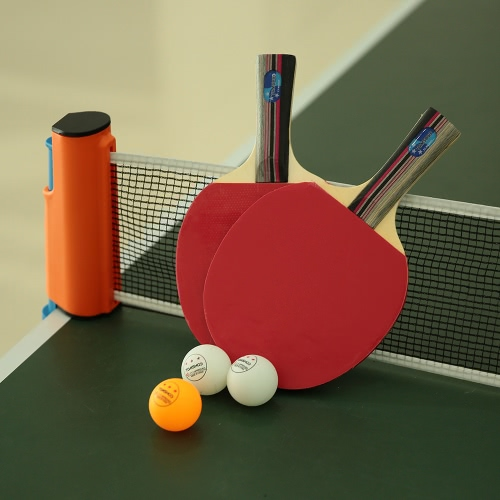 TOMSHOO Table Tennis Set Portable Sports To Go Set 2 Ping Pong Paddles + 3 Balls + 1 Net