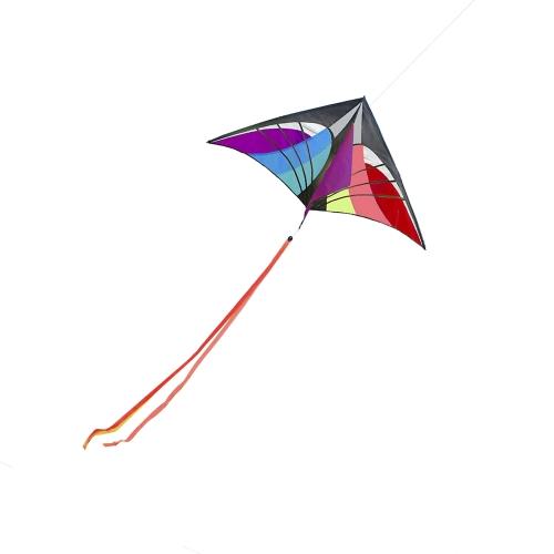 160 x 90cm / 63 x 35.5in Grande Kite Delta Kite Outdoor Sport Linea Cervo volante con coda per i bambini Adulti