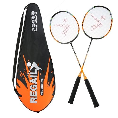 2 Player Бадминтон Набор для замены ракетки Ультра легкое углеродное волокно Бадминтон с сумкой