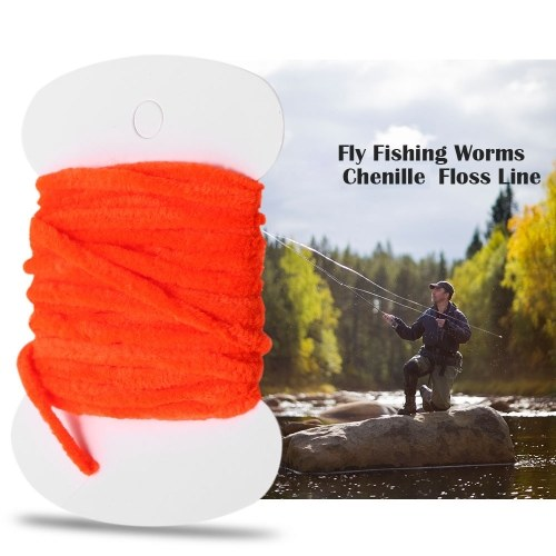 8PCS 3.0m Fly Fishing Worms Chenille Floss Line Thread Woolly Fly Tying Materials
