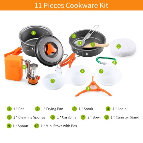 Outdoor Camping 11Pcs Cookware Set Hiking Backpacking Picnic Cooking Pot Pan Set with Piezo Ignition Mini Stove for 1 - 2 People