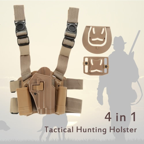 4 in 1 tattica di caccia a sgancio rapido del piedino di goccia coscia Piattaforma Rig Holster con 2 sacchetti per P226
