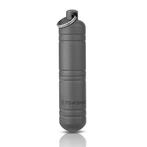 TOMSHOO titanium EDC contenedor cápsula a prueba de agua botella de píldoras caja caja llavero camping supervivencia al aire libre kit de viaje de emergencia herramienta