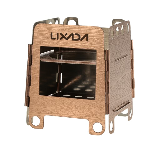 Lixada Portable Stainless Steel Lightweight Folding Wood Stove Pocket Stove Outdoor Camping Cooking Picnic Backpacking Stove