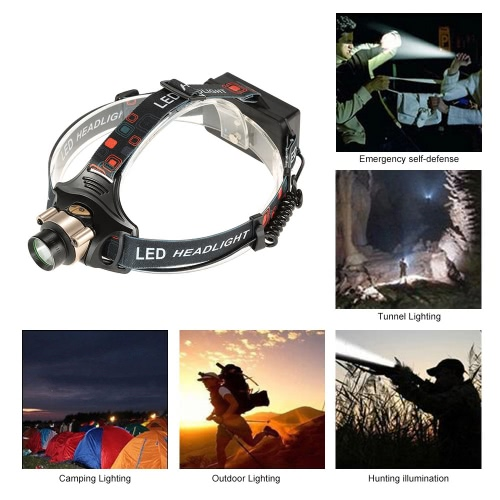 Docooler Outdoor Camping Tunnel Lighting Bright Water Repellent 3 Modes LED Headlight Head Light Head Lamp Flood Light Rechargeable