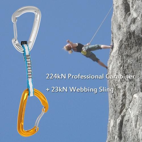 Quickdraw 24kN Berufssicherheitsschnalle Aluminium-Legierung Karabiner + 23 kN 11mm 105mm Bandschlinge Flache Bügel-Gurt für Outdoor-Survival-Bergsteigen Felsklettern Rettung