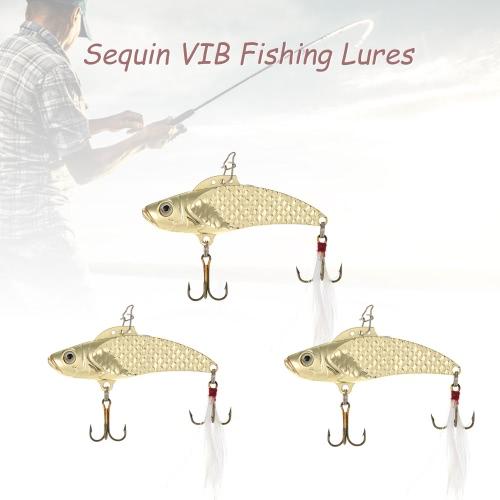 LIXADAの3pcs / lotの8グラム/ 12グラム/ 18グラムのスパンコールVIB釣りルアーハードトレブルフックでベイトスパンコール釣り