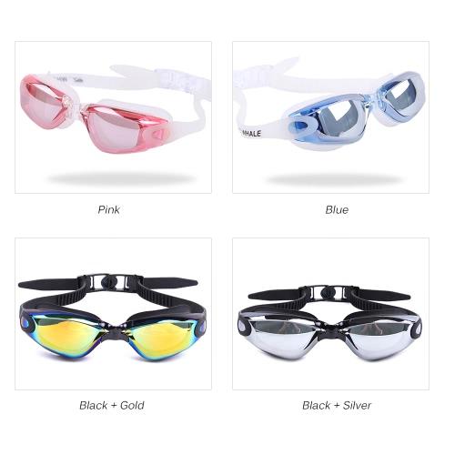 Image of Erwachsene Männer Frauen Galvanotechnik Mirrored Beschichtung Anti-Fog-UV-Schutz-Badebekleidung Schwimmbrille Sportschwimmbrille Brillen Brillen mit Aufbewahrungskoffer