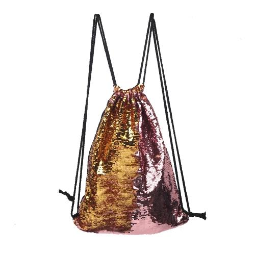 Borse cosmetiche da donna Borse da ballo scintillanti di moda doppio colore paillettes reversibili Zaino da sole con coulisse glitter Zaino magico paillette per ragazze