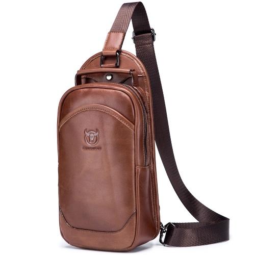 Men Leather Sling Bag Water-resistant Anti Theft Crossbody Chest Bag Sling Backpack Shoulder Bag