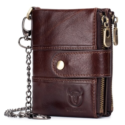Men Vintage Cow Leather Wallet Card Holder Wallet Purse with Chain
