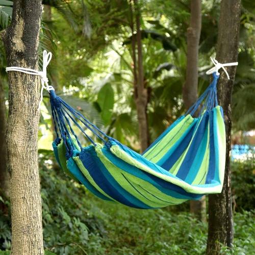 Outdoor Color Striped 2 People Hammock Thick Canvas Hammock Indoor Leisure Camping 180 * 150cm