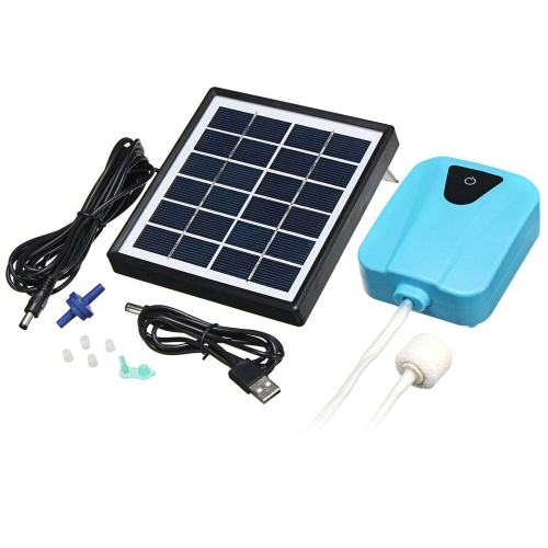 Lightweight Compact 2L/min Solar Power Aquarium Oxygen Pump Water Aerator Oxygenator Rechargeable Air Pump