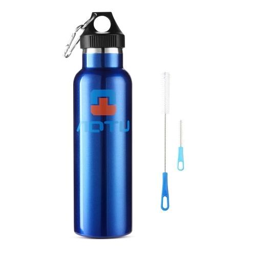 Isolierte Edelstahl-Wasserflasche (600 ml) mit Reinigungsbürsten-Kit