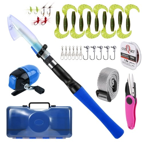 1.2M Fishing Rod and Reel Combo for Kids Spincast Fishing Reel Telescopic Fishing Rod Pole Lures Hooks Line Fishing Accessories