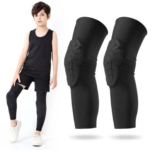 Kids Compression Leg Sleeves Rutschfeste Beinmanschetten mit Knieschutzpolstern für Basketball Volleyball Skating