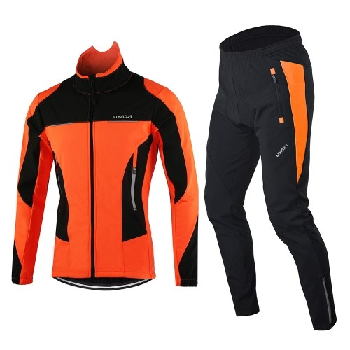Lixada Men Winter Cycling Clothing Set Windproof Long Sleeve Cycling Jersey Coat Jacket with 3D Padded Pants Trousers