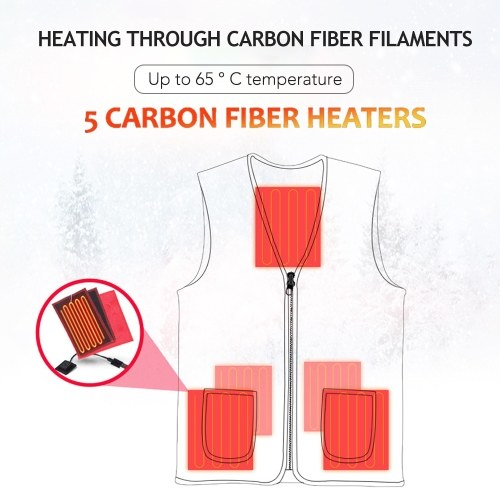 Men and Women Outdoor USB Heating Vest Jacket Winter Flexible Electric Thermal Clothing Waistcoat Fishing Hiking Warm Clothes