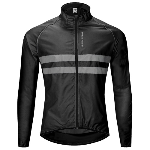 Jaqueta refletiva de manga comprida para bicicleta em jersey contra o vento, resistente à água e à prova de vento ao ar livre para esportes ao ar livre, jaqueta para ciclismo de corrida