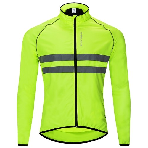 Reflective Long Sleeve Bicycle Jersey Wind Coat Jacket Water-resistant Windproof Outdoor Sports Bike Cycling Running Jacket Image
