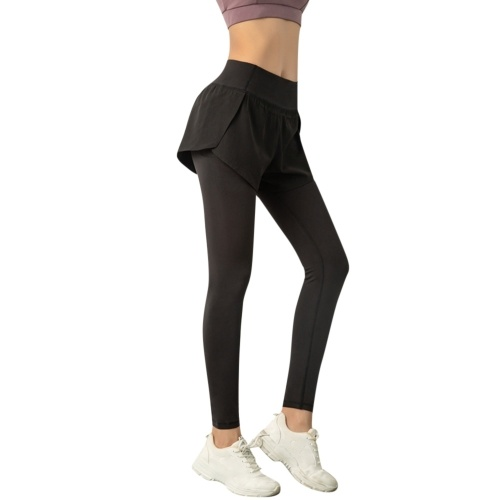 2 in 1 Women Yoga Pants Quick Dry High Waist Seamless Compression Leggings High Elastic for Fitness Running Gym Sports Trouser