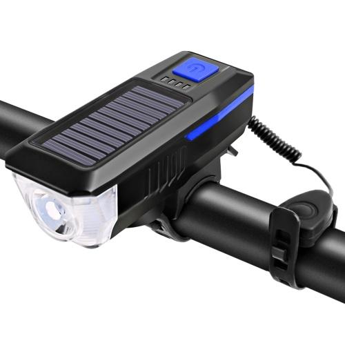 Солнечная / USB-зарядка Велосипедный фонарь Фонарь для велосипедного звонка Велосипедный фонарик Велосипедный передний фонарь USB / на солнечной энергии Перезаряжаемый Водонепроницаемый Велосипедный фонарь с 3 режимами освещения 5 звуков Подходит для горного дорожного велосипеда