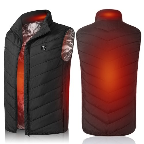 Lightweight Winter Warm Waistcoat Electric Heating Vest USB Charging Heated Coat Thermal Vest with Pocket for Walking Camping Ice Fishing Snowboarding Skiing
