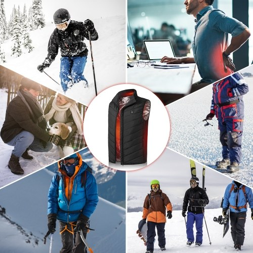 Lightweight Winter Warm Waistcoat Electric Heating Vest USB Charging Heated Coat Thermal Vest with Pocket for Walking Camping Ice Fishing Snowboarding