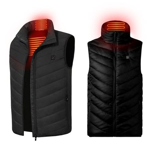 Outdoor USB Heating Coat Vest Winter Flexible Electric Thermal Clothing Stand-up Collar Fishing Hiking Warm Clothes
