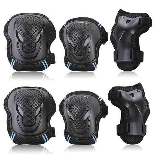 Knee Pads Set 6 Protector Kit Knee Pads Elbow Pads Wrist Guards Protective Equipment Set Safety Protection Pads for Skateboard Cycling Riding