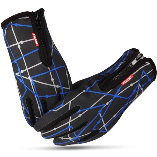 アウトドアユニセックス ノンスリップ防風フリースサーマルサイクリンググローブ フルフィンガーグロー  ブ タッチスクリーン手袋