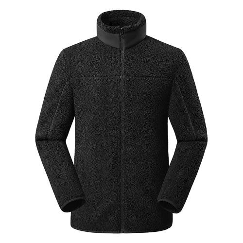 Sherpa Jackets Fuzzy Fleece Teddy Cardigan Side Pockets Zipper Stand Collar Coat for Man Women Winter