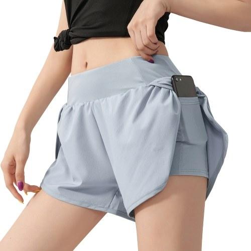Calções de corrida femininos 2 em 1 com forro de compressão de bolso largo na cintura Leggings de ioga esportiva para exercícios de ginástica.